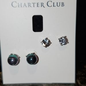 💝 Tahitian pearl and Crystal  Duo earring set.